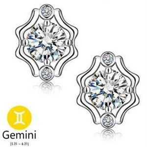 Jewelry - NEW sterling silver zodiac Gemini stud earrings